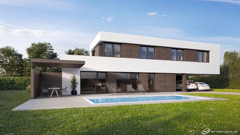 Band 3D Architektur Rendering Pool