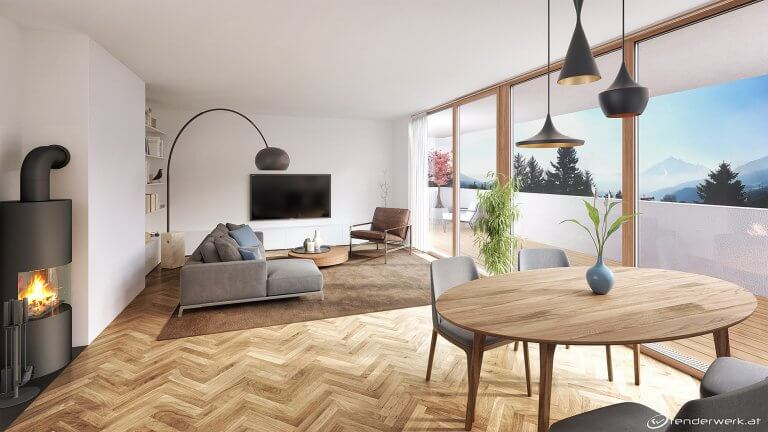 Black Lights 3d immobilien rendering wohnraum kamin