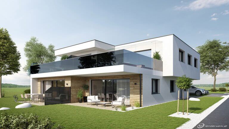 Black Mirror 3D Haus Rendering Modern Architektur