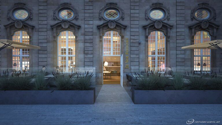 Come In 3D Architektur rendering CFl Luxembourg Restaurant Bahnhof