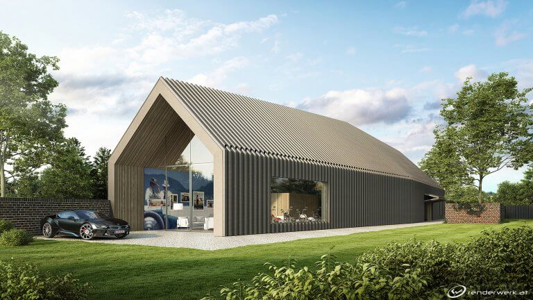 Horse Stable 3d Architektur Garage Holz Autos