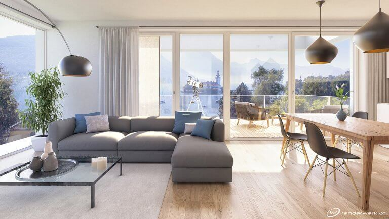Lakeview Immobilien Visualisierung Wohnraum See