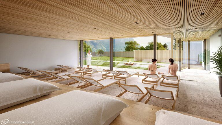 Relaxation Room 3D Architektur Rendering Ruheraum Spa Wellness