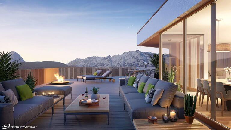 Seefeld Sunset 3d immobilien rendering dachterrasse abend
