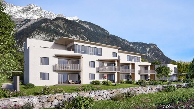 The Wall Immobilien Rendering 3D Aussenvisualisiernug